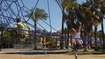 Children climbing on a playground
