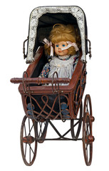 Vintage toy pram with doll. Clipping path included.