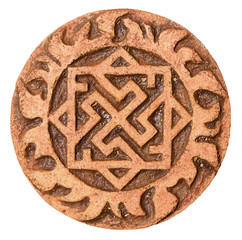 Old symbol on terracotta amulet