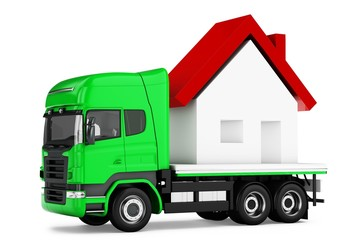 3d truck with house delivery