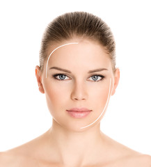Rejuvenation procedure on beautiful woman's face, isolated