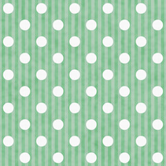 Green and White Polka Dot and Stripes Fabric Background