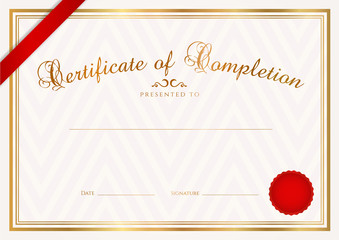 Certificate / Diploma template. Background design. Ribbon