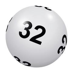 Loto, boule blanche numéro 32