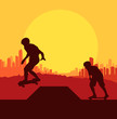 Skater silhouette in front of city landscape vector background