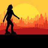 Woman roller skating vector background with city and sunset