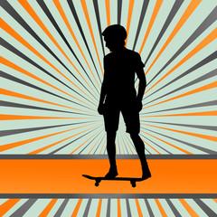 Skater silhouette in front of burst vector background