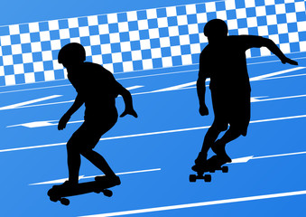Skateboarders detailed silhouettes illustration background