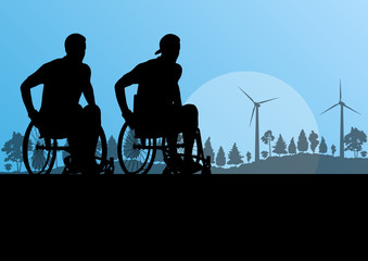 Active disabled men on a wheelchair detailed sport concept silho
