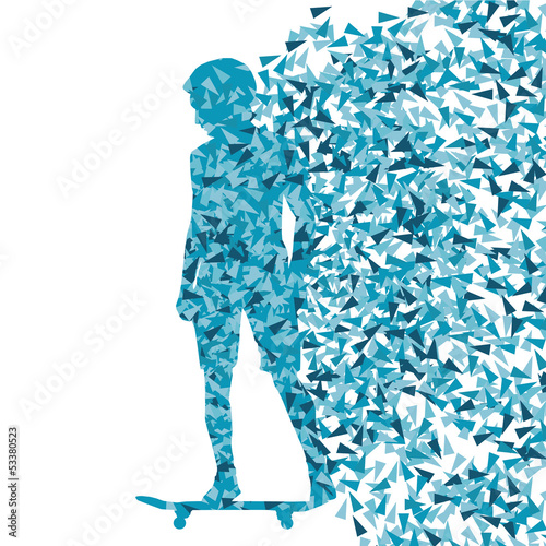 Skateboarder abstract background vector template concept