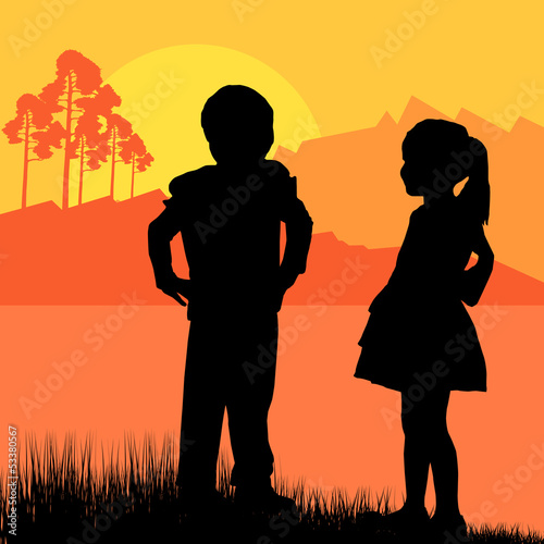 Happy children girl and boy background landscape vector