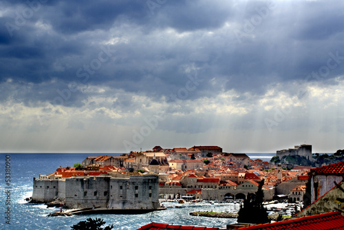 Stormy Dubrovnik with rays of sunshine