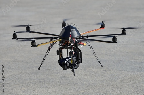 Police unmanned helicopter (UAV) with a camera for observation