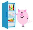 Schwein am Kühlschrank