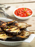 Grilled eggplants with tomato sauce