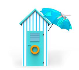 Cabaña de playa con sombrilla mapa