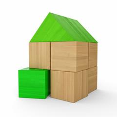 Holzhaus Baustein Konzept - Grün