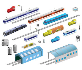 Isometric set of railroad equipment on a white background