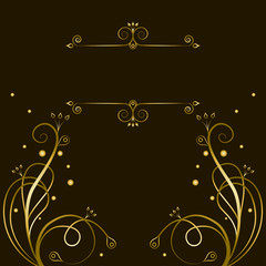 Decorative gold  tracery with frame for text