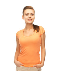 smiling woman in blank color t-shirt