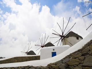 The Windmills of the Island of Mykonos in Greece