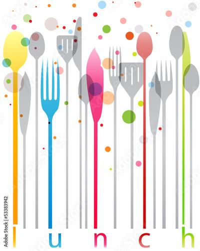 Posate colorate biglietto pranzo