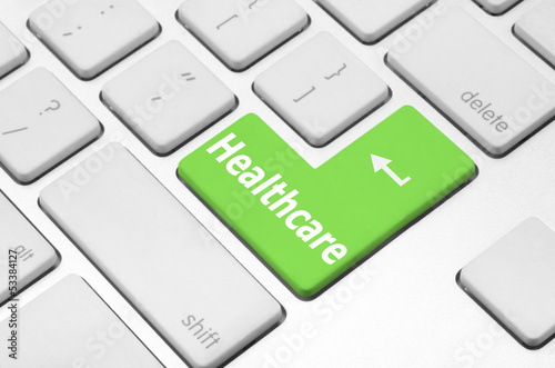 Healthcare key on the computer keyboard