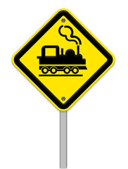 Railroad Level Crossing Sign without barrier or gate ahead the r