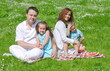 Happy family have picnic in the park