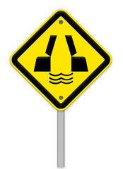 opening or swing bridge ahead in yellow background sign ,part of
