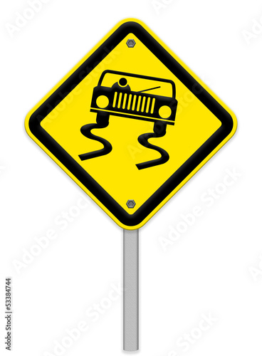 Yellow slippery road sign, isolated on white background, clippin