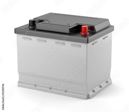 Leinwanddruck Bild Batterie de voiture sur fond blanc 1