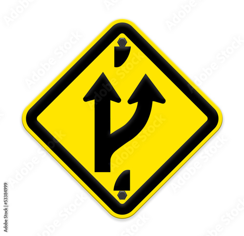 Road sign indicating a forked road ahead,part of a series