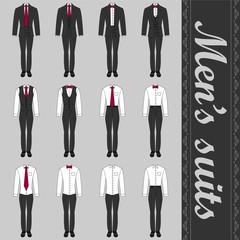 Set of various men's suits