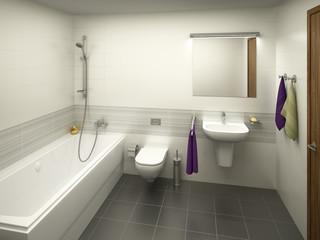 Modern light colored bathroom