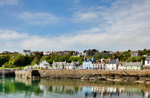 Painted houses lining Portpatrick harbour