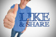 Boy giving thumb up for like and share