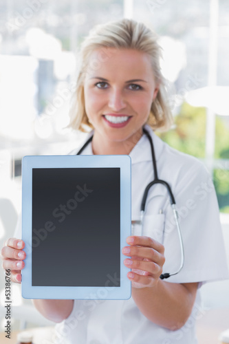 Nurse showing her digital tablet