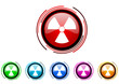 virus vector glossy web icon set