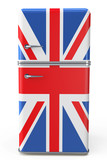 Retro refrigerator with the British flag on the door