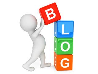 3d person placing Blog Cubes