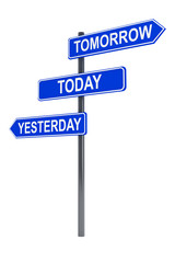 Tomorrow, today and yesterday road sign
