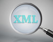 Magnifying glass showing xml word