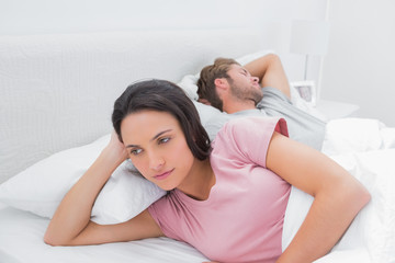 Woman annoyed that her partner is sleeping