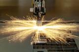 Plasma cutting metalwork industry machine poster