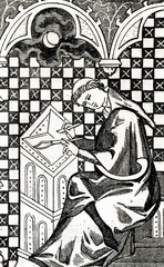 Monastic scribe, copying the manuscript in his cell