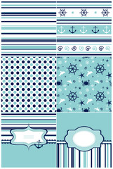 Collection of marine backgrounds in blue and white colors