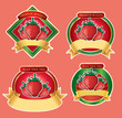 set of luxury strawberry labels with golden ribbon