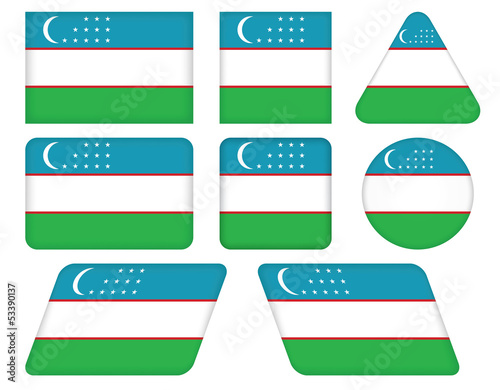 set of buttons with flag of Uzbekistan