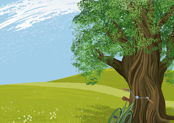 Vector illustration of an old tree in a meadow.